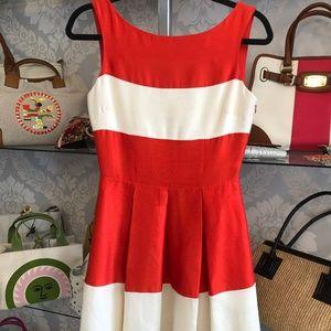 KATE SPADE Orange & Cream Cotton & Silk Dress